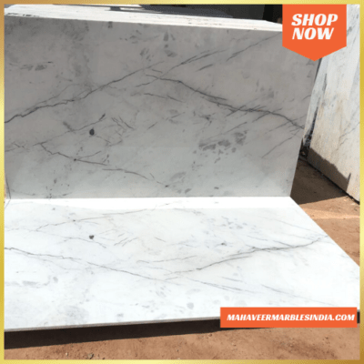 White Indian Statuario Marble Slab